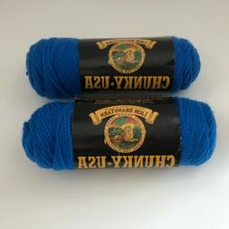 2 skeins Lion Brand Chunky USA Flag Blue #109 yarn 100% acry