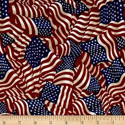 Fabri-Quilt American Pride Wavy Flag Antique Fabric By The Y
