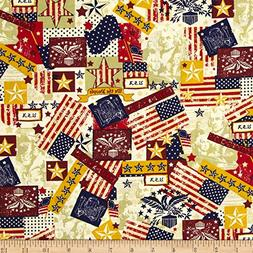 Santee Print Works Made in the USA Antique Flags Red White B