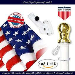 American Flag Kit Includes: 6ft Spinning Flagpole, 3x5 Embro