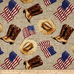 Fabri-Quilt American Pride Heart Of American Flags & Boots E