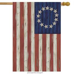 Betsy Ross Flag Patriotic House Flag Rustic 4th of July 28""