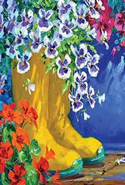 Toland Home Garden Boots and Blossoms 12.5 x 18 Inch Decorat