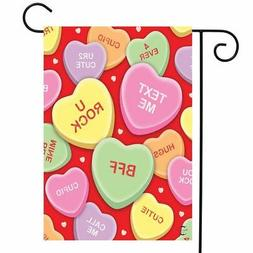 Candy Hearts Valentine's Day Garden Flag Love Phrases 12.5""
