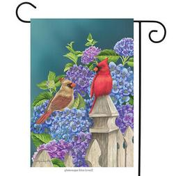 Cardinals and Hydrangeas Spring Garden Flag Fencepost Floral