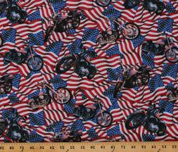 Cotton American Flags Motorcycles Cotton Fabric Print by the