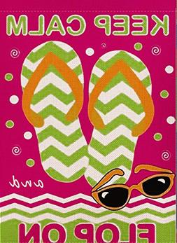 Dyrenson Home Decorative Outdoor Flip Flop Garden Flag Keep