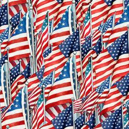 Fabric USA Flag Patriotic on White Susan Wingett Cotton by t