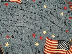 Fabric USA Flag Pledge of Allegiance on Blue Cotton by the 1
