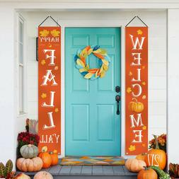 Fall Decorations - Welcome Happy Fall Yard Large Hanging Fla