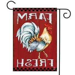 "Farm Fresh Rooster Summer Garden Flag Barn Wood 12.5"" x 18"""