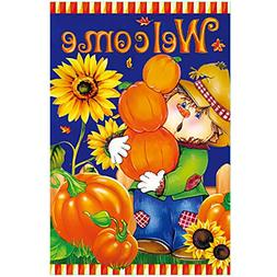Morigins Harvest Fall Scarecrow House Flag Double Sided Welc
