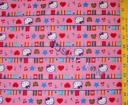 Hello Kitty International Flags Light Pink Cotton Fabric By