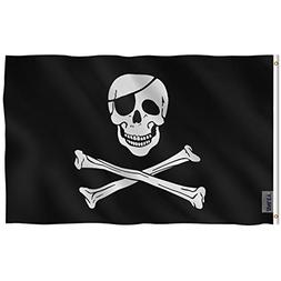 Anley Fly Breeze 3x5 Foot Jolly Roger Flag with Patch - Vivi