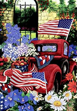Morigins Outdoor 4th of July Flowers Garden Flag Double Side