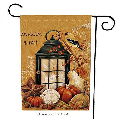 Dyrenson Decorative Orioles Bird Double Welcome Quote House Yard Flag, Autumn Primitive Garden Yard Seasonal Outdoor 12 18