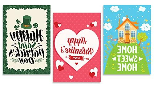 Happy Flag Set | 12 Artistically Holiday Durable Double-Sided