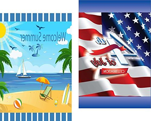 Seasonal Garden Flag Set of - 10 of 12 inch Large Holiday Flags Sided Colorful Seasons - Premium Quality