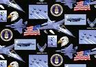US AIR FORCE COTTON FABRIC MILITARY EAGLE PLANES FLAG QUILTI