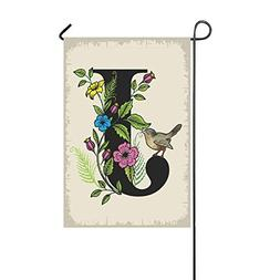 Pingshoes Monogram J with Cute Bird Polyester Garden Flag Ho