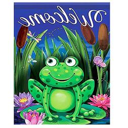 ALAZA Night Green Frog Welcome Funny Small Mini Garden Yard
