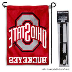 Ohio State Buckeyes Garden Flag with Stand Holder