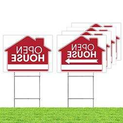 Open House Real Estate Signs –  5 Double Sided Red Propert