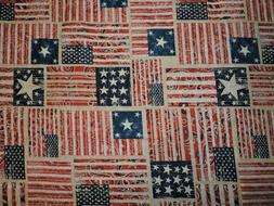 Patriotic American Flag Paisley Country 100% Cotton Fabric 1
