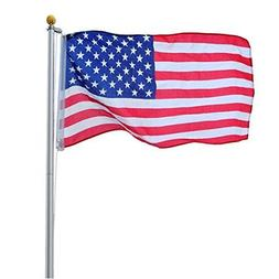 ZENY 20FT Sectional Flag Pole 3'x5' American Flag & Ball Top