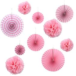 Set of 10 Paper Fans Rosettes Hanging Ornament Birthday Part