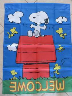 Snoopy and Woodstock Peanuts Welcome Garden Yard Flag Large