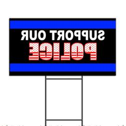 Support Our Police Cop American Flag Corrugated Plastic Yard