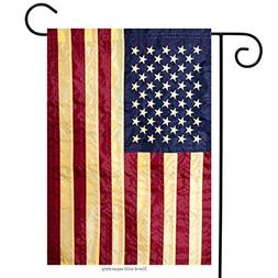 Tea Stained Embroidered American Flag Garden Flag Stars & St