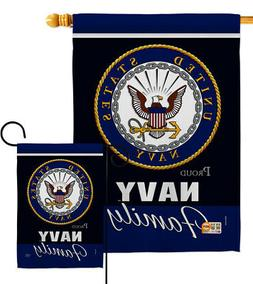 US Navy Proudly Family Garden Flag USN Armed Forces Military