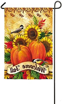 Evergreen Welcome Fall Sunflowers Suede Garden Flag, 12.5 x