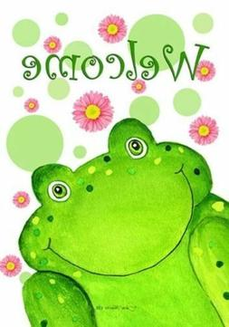 """WELCOME FROG with FLOWERS SPRING SUMMER YARD GARDEN FLAG 12"""""""