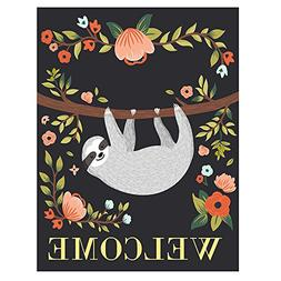 ALAZA Welcome Funny Sloth On Tree Double Sided Garden Yard F