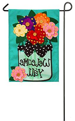 Evergreen Flag Welcome Y'All Polka Dot Flowers Double-Side