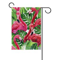 ALAZA Yard Flag Home Decor 28x40 Inch,Colorful Pink Flamingo